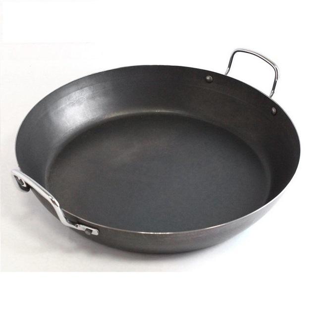 【Gusto古斯特】黑鐵無塗層商用雙耳平煎鍋-20cm