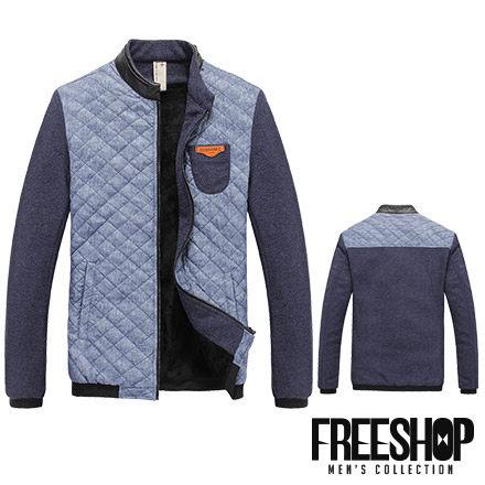 夾克外套 Free Shop【QH0225】韓版皮質立領菱格紋拼接皮標口袋內裏絨毛保暖加厚中山領夾克外套