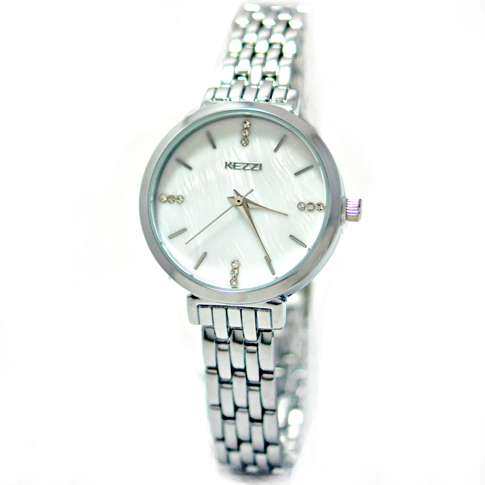KEZZI 珂紫 KW-1447-S 簡約典雅復古手鍊水鑽金屬錶