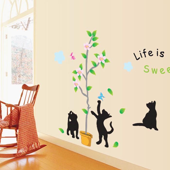 DIY無痕壁貼 嬉戲貓 牆貼 創意壁貼【YV6370】快樂生活網