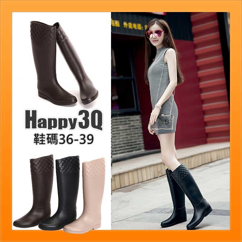 雨天防水防潮個性簡約時尚美觀菱格紋圓頭低跟中筒高筒雨靴-黑/棕/米36-39【AAA1321】