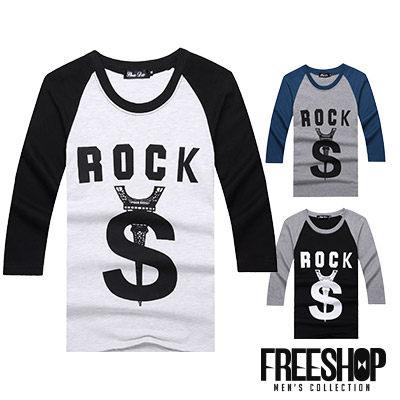 Free Shop【QR05098】美式休閒ROCK S倒鐵塔斜袖印花圓領棉質七分袖上衣‧三色 MIT台灣製