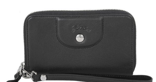 【LONGCHAMP】 Le Pliage Cuir系列小羊皮手拿/零錢包(黑)