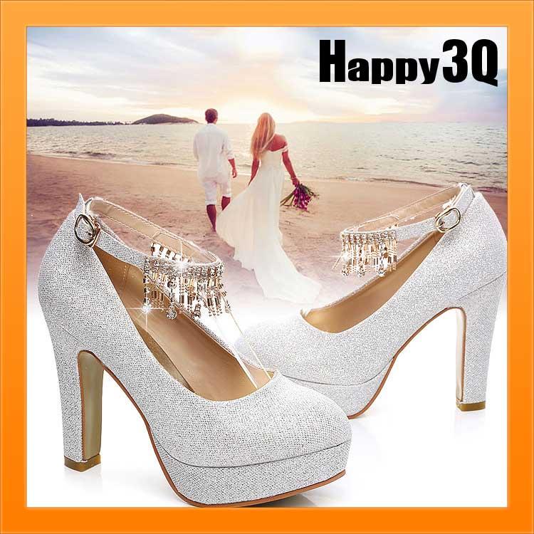 高貴氣質新娘浪漫婚紗禮服伴娘亮片水鑽流蘇大尺碼婚鞋粗跟高跟鞋-8公分/5公分34-42【AAA0994】