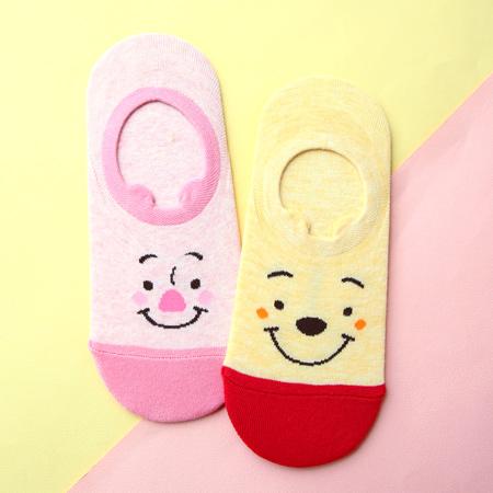 韓國 小熊維尼大臉矽膠止滑隱形襪 小豬 船型襪 淺口船襪 短襪 襪子 迪士尼【N201798】