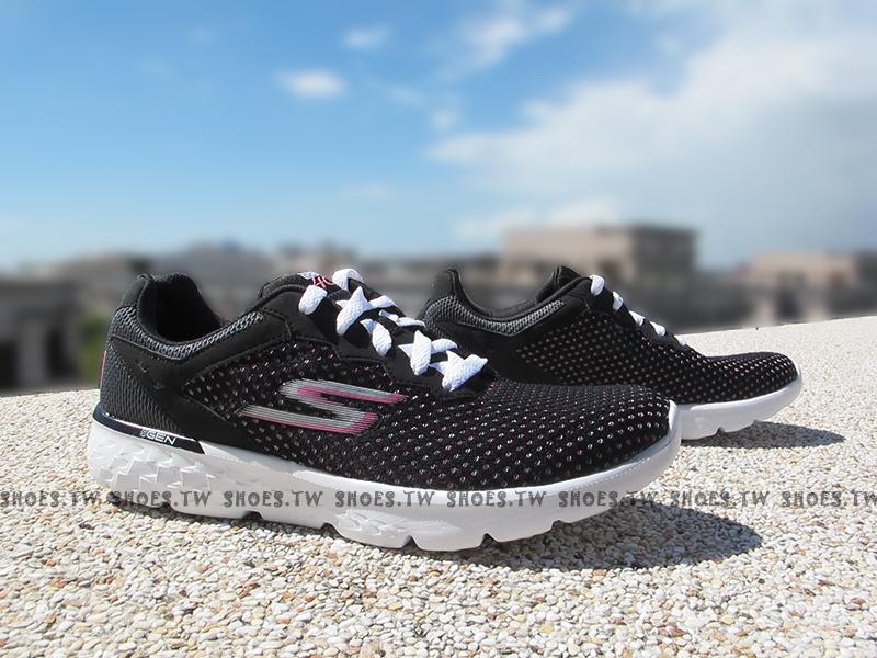 Shoestw【14180BKPK】SKECHERS 慢跑鞋 GO RUN 400 黑桃點點 公益 粉紅絲帶 健走