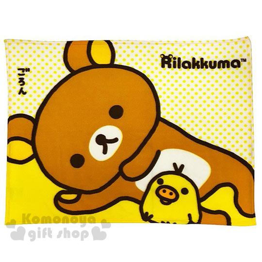 〔小禮堂〕懶懶熊 刷毛毯《棕.側躺.小雞.75x100cm》室內車內兼用
