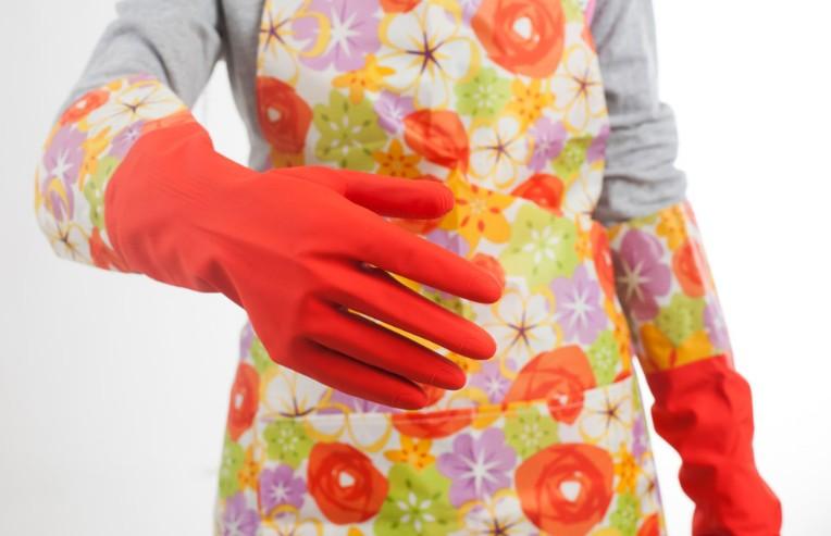 冬季保暖橡膠加長碎花洗碗手套 洗衣防水 家務清潔手套 隨機出色 【省錢博士】59元