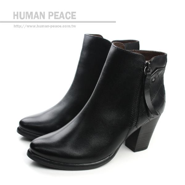 HUMAN PEACE 皮革 舒適 高跟 拉鍊 好穿脫 靴子 戶外休閒鞋 黑色 女鞋 no324