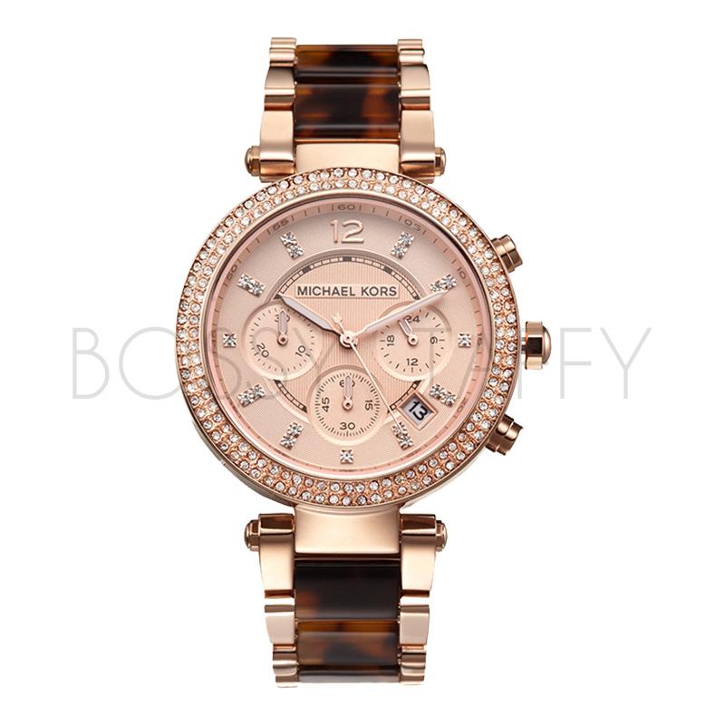 MK5538 MICHAEL KORS 三眼六針機雙排鑲鑽錶盤玫瑰金琥珀女錶 手錶