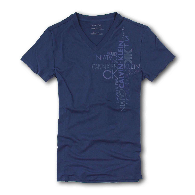 美國百分百【Calvin Klein】T恤 CK 短袖 T-shirt 短T 深藍色 V領 浮雕 logo 男 XXS XS L號 C627