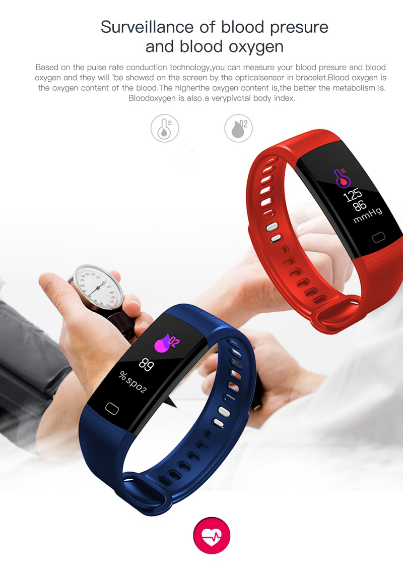 Y5 Color Screen Fitness Tracker with BP/BO/HR Heart Rate Monitor PK Fitbit  and Miband