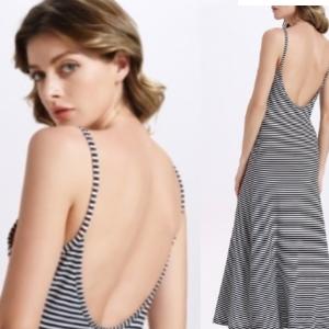 美麗大街【IR3559】歐美風女裝條紋吊帶連衣裙長裙