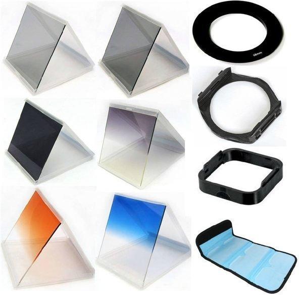 攝彩@方型10合1濾鏡組 漸變鏡片 ND4 ND8 減光鏡 漸層 漸變鏡x3+ND鏡x3+環+托架+遮光罩+濾鏡包-21005