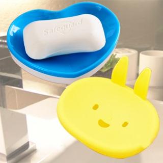 【挪威森林】可愛造型雙層粉彩香皂盒(2入組-不挑款/色)-兔子&愛心(2入1組)