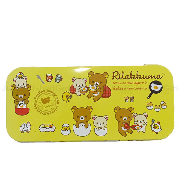 懶懶熊 拉拉熊 Rilakkuma 鉛筆盒 收納盒 置物盒 單層馬口鐵 文具 正版日本進口 * JustGirl *