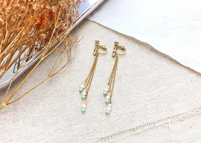 韓國飾品,垂墜耳環,串珠耳環,夾式耳環