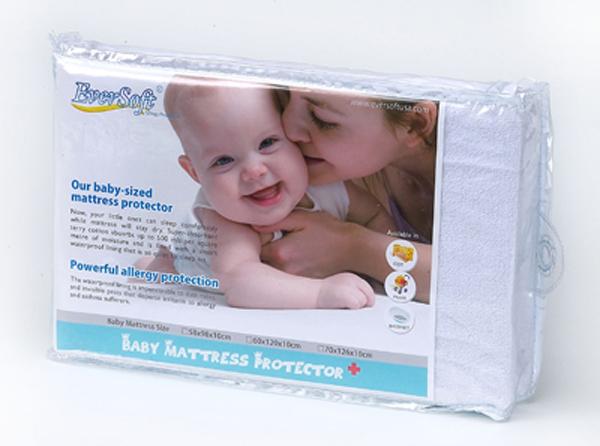 【100%防?、防水、透氣-全包式嬰兒床保潔墊 (60x120x10cm)】美國Ever Soft防蹣寢具 純棉 抗菌 5217SHOPPING