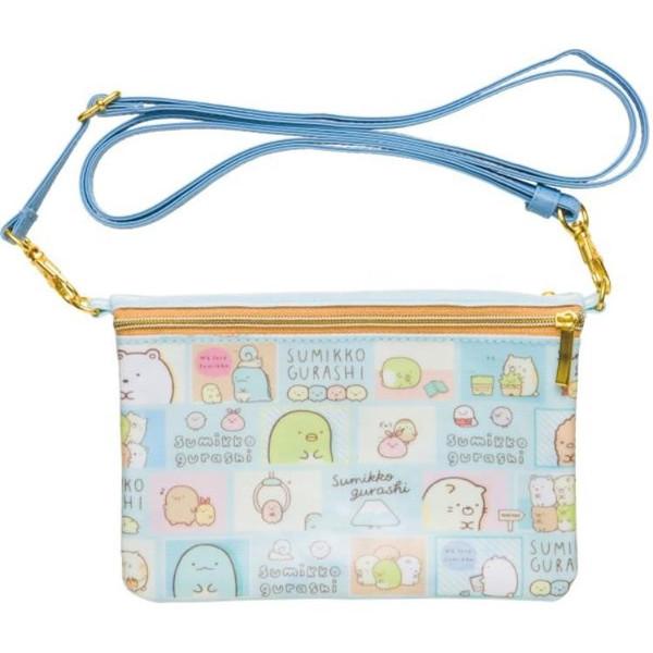 【真愛日本】4974413680080 側背多功能數位袋-角落漫畫藍  SAN-X 角落公仔 數位袋 側背包 包包