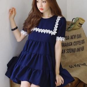 美麗大街【IR1855】寬鬆大碼拼接花邊短袖雪紡打底裙連衣裙