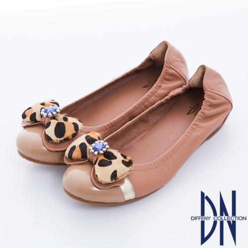 DN 心機美學 豹紋蝴蝶結內增高羊皮娃娃鞋-粉