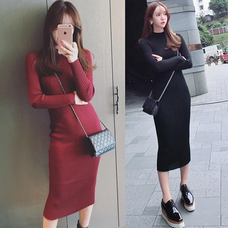PS Mall 秋冬新款螺紋打底長款修身顯瘦連身裙 洋裝【T4276】