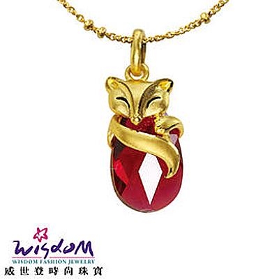 立體純金 黃金紅水晶狐狸墜子 手鍊 項鍊 附黃金金珠鍊與個性黑皮繩 推薦禮物 猴年開運 特價優惠款