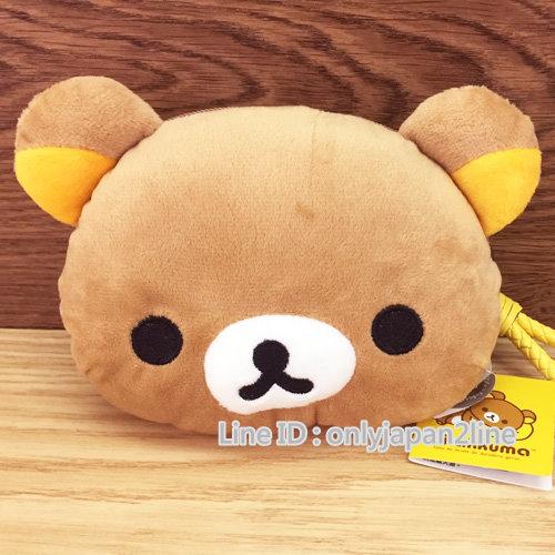 【真愛日本】16112600019絨毛頭型拉鍊零錢化妝包-懶熊  SAN-X 懶熊 奶熊 拉拉熊 化妝包 收納包 萬用包
