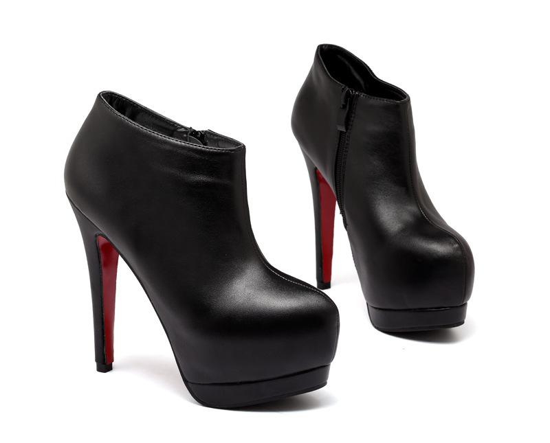 2016新款歐美外貿性感夜店紅黑細跟高跟防水台短靴及裸靴派對經典