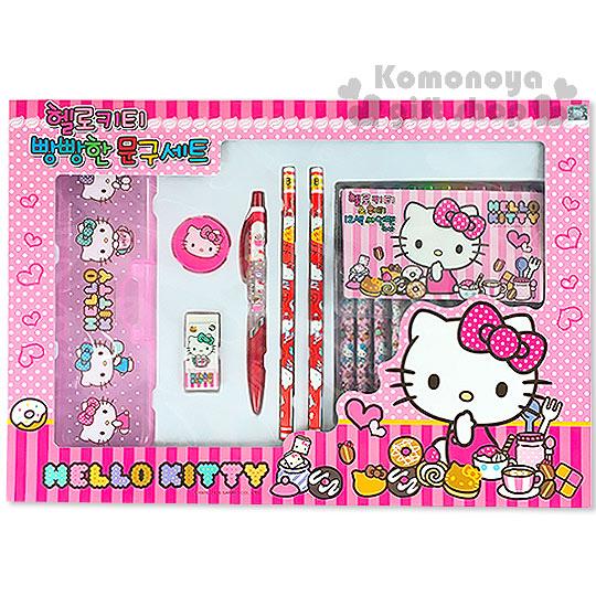 〔小禮堂韓國館〕Hello Kitty 文具組《粉盒.甜點》超值六件文具組合