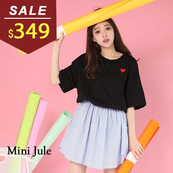 洋裝 線繡愛心拼接細條紋縮腰洋裝 小豬兒 MiNi Jule 【YXJ61009336】