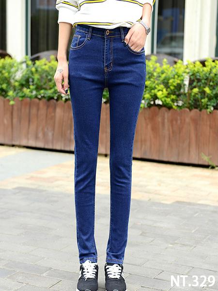 高腰修飾貼身小腳牛仔褲
