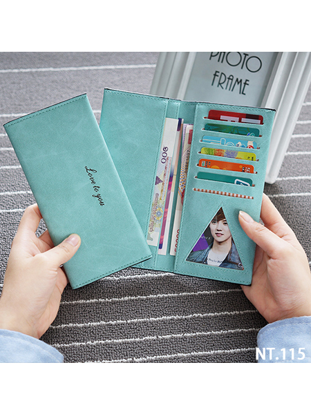 超薄軟皮夾  6個卡位  3格鈔票夾  1格相片位