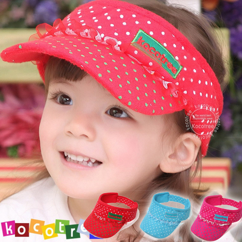 WallFree窩自在★時尚可愛蕾絲字母點點兒童遮陽帽空頂帽