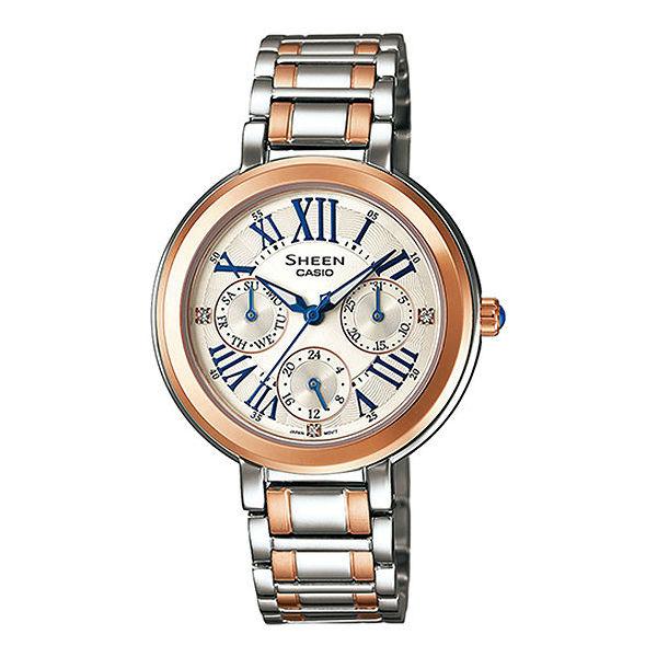 CASIO SHEEN SHE-3034SG-7A雙色古典玫瑰金時尚腕錶/白色34mm