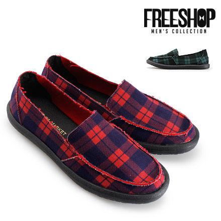 懶人鞋 Free Shop【QSH0573】美式風格經典格紋百搭低筒休閒鞋懶人鞋 二色 (FS08) MIT台灣製