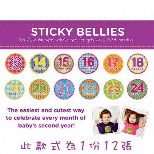 ★衛立兒生活館★美國Sticky Bellies 寶寶月份貼紙13-24M(經典美式)