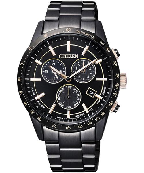 CITIZEN星辰BL5495-56F玩黑都會光動能計時腕錶/黑面40mm