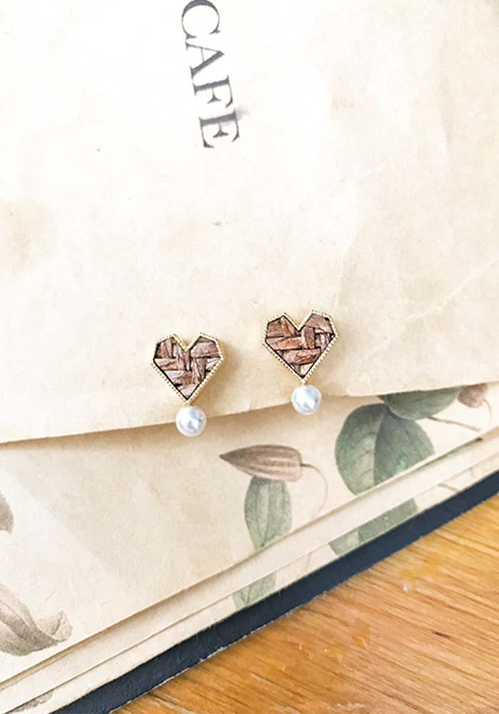 韓國耳環,夾式耳環,耳夾,螺旋夾耳環,心型藤編耳環,藤編耳環,編織耳環,珍珠耳環