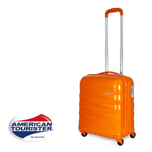 【加賀皮件】American Tourister 美國旅行者鑽石切面超輕亮面硬殼四輪行李箱/登機箱 18吋 【R87】