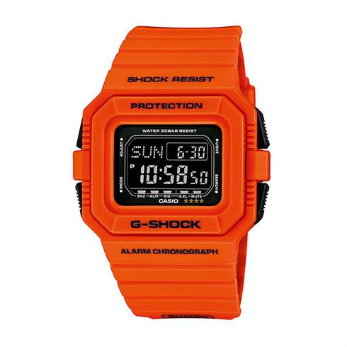 CASIO G-SHOCK DW-D5500MR-4酷炫亮橘腕錶/黑面46*45mm