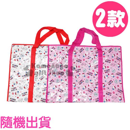 〔小禮堂韓國館〕Hello Kitty 側背購物袋《特大.2款隨機出貨.坐姿.對話框.蘋果.滿版》也可當棉被袋