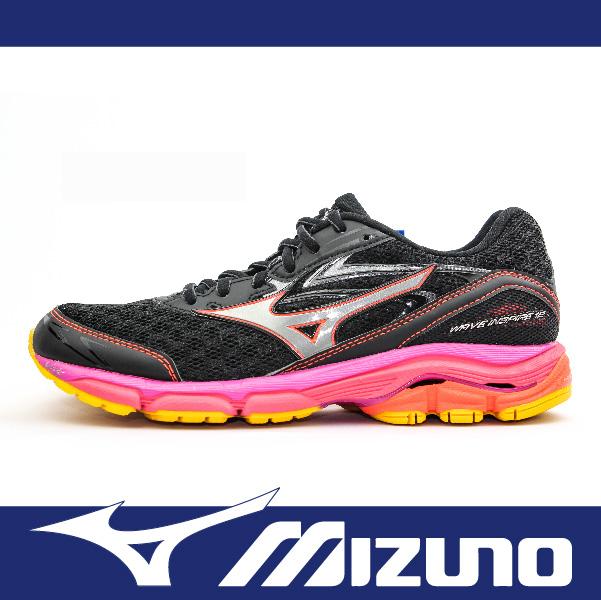 萬特戶外運動 MIZUNO美津濃 J1GD164419 女慢跑鞋 WAVE INSPIRE 12 支撐型 適合扁平足 低足弓 耐磨大底 吸震 舒適 黑+粉黃色