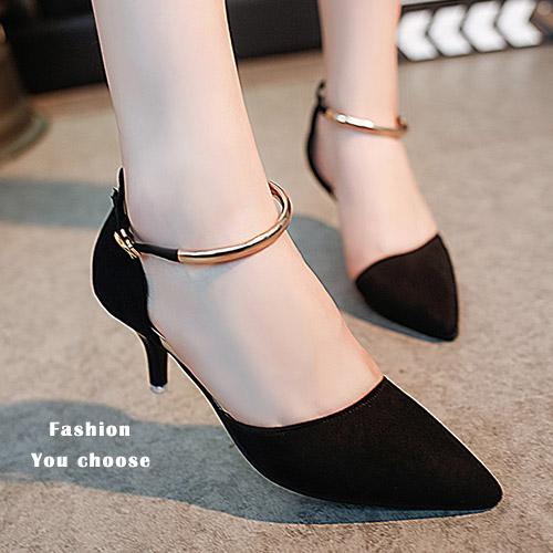 高跟鞋-金屬細帶繞踝尖頭包鞋