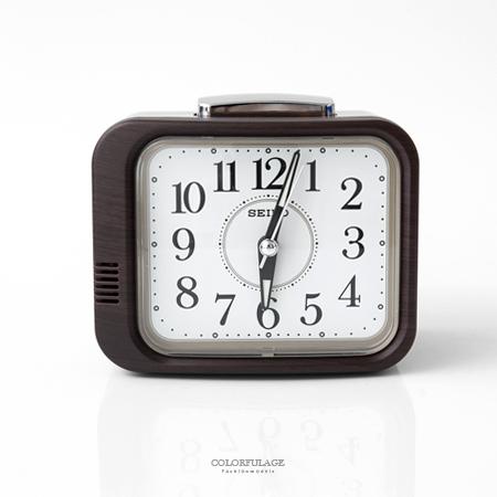 SEIKO精工鬧鐘 方形深咖木紋設計桌鐘 滑動式靜音秒針 指針夜光功能 柒彩年代【NV5】原廠公司貨