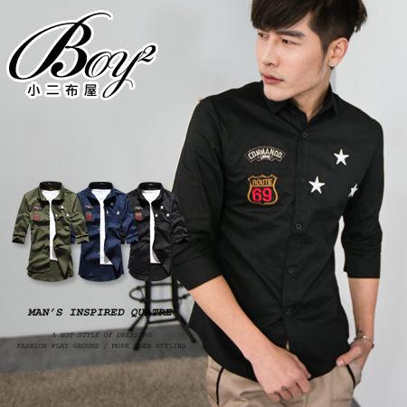 ☆BOY-2☆ 【PPK87015】七分袖襯衫美式潮流星星電繡