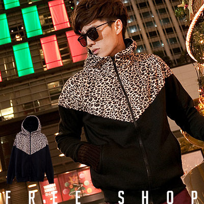 Free Shop【QBJC116】韓版潮流絨布豹紋拼接設計棉質保暖立領連帽外套‧黑色