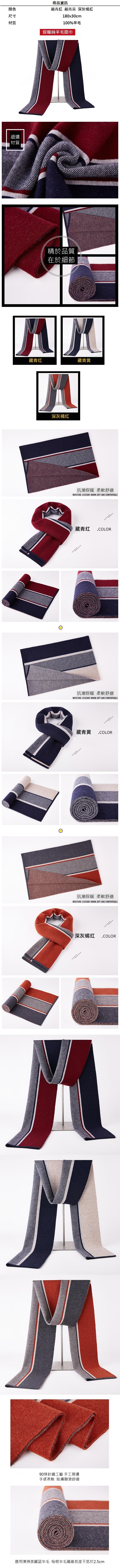 羊毛圍巾-保暖加厚格紋針織男披肩