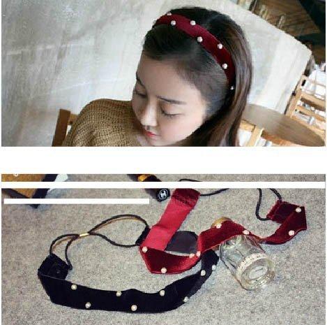來福,H263髮帶秋冬布藝新款純手工釘珠絲絨髮帶,售價100元
