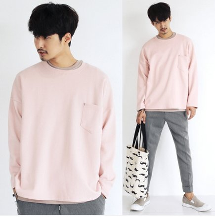 【JP.美日韓】 OVERSIZE 粉色 口袋 上衣 韓國原裝 系列 寬肩 ZNIF MJ BCG NIKE 武士
